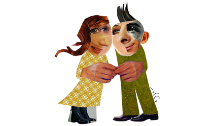 Image d'un jeune couple en scrapbooking.