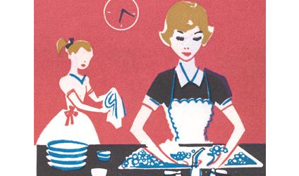 Dessin de deux soeurs faisant la vaisselle.