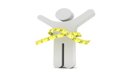 Image d'une silhouette avec un ruban à mesurer autour la taille.