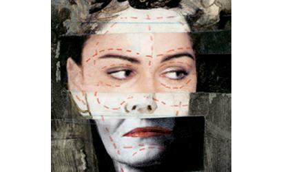 Image en collage d'un visage de femme refait.
