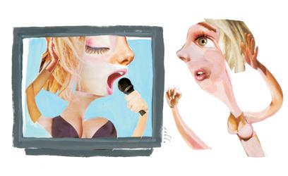 Photo monté en collage d'une jeune fille devant la télévision
