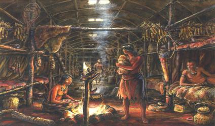 Image représentant d'une maison Iroquoienne