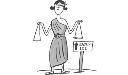 Image d'une femme portant une balance.