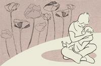 Illustration d'une femme tenant son bébé assise en indien.