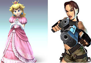 Princesse Peach et Lara Croft
