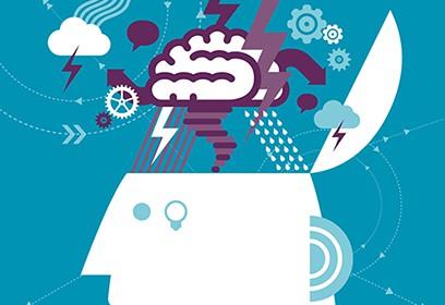 Dessin d'une personne avec un cerveau qui a plein d'idées
