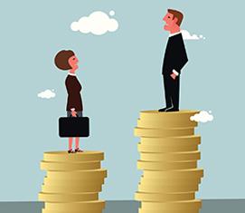 Un homme sur une pile d'argent plus haute que celle d'une femme à côté.
