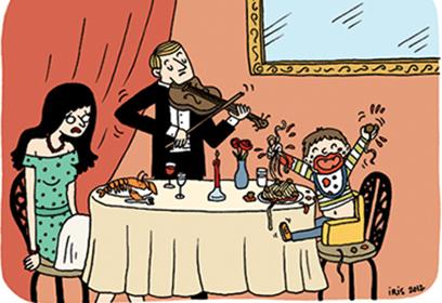 Dessin d'une femme au restaurant avec un enfant énervé et un violoniste.