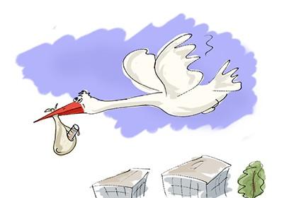 Cigogne transportant une éprouvette