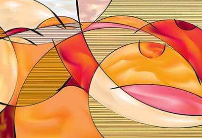 Dessin abstrait du corps nu d'une femme