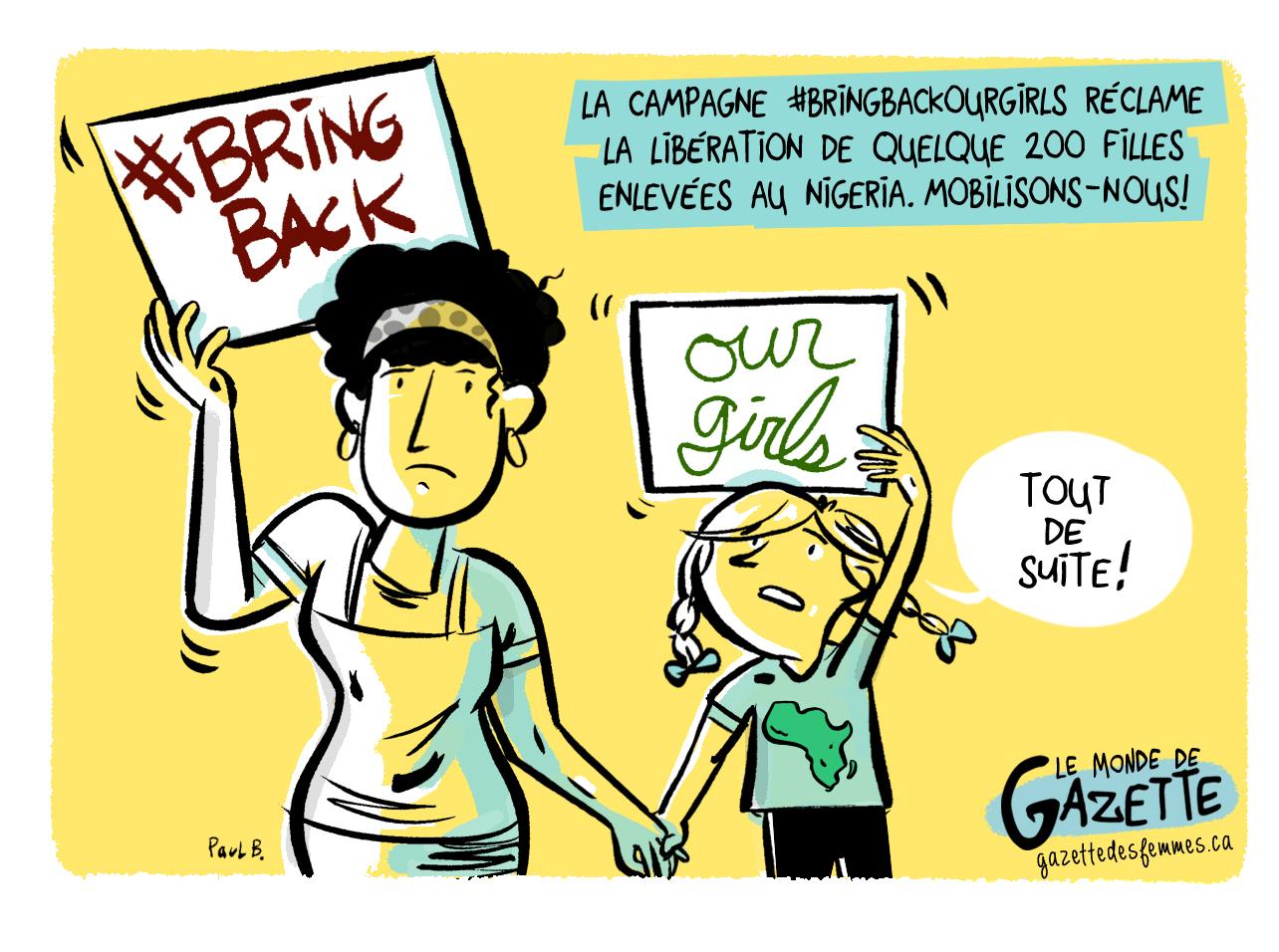 Illustration sur la Campagne jeunes filles enlevées au Nigéria.