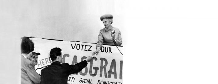 Photographie de Thérèse Casgrain lors de l'élection.