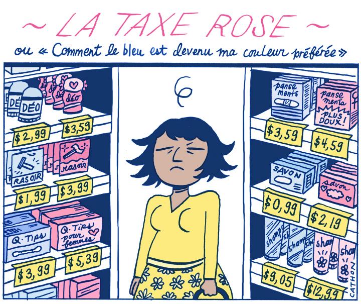 Dessein d'une femme devant des étagères de produits rose et bleu.