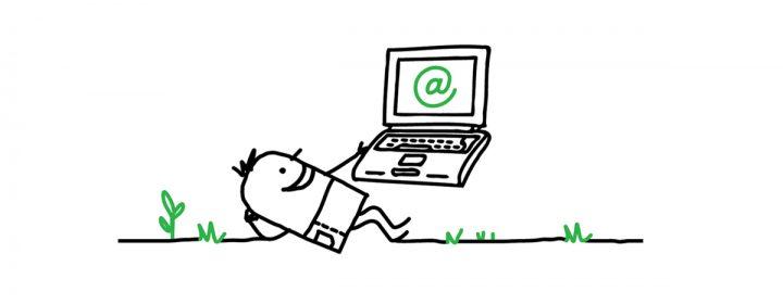 Illustration d'un bonhomme blogueur