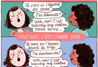 Illustration de deux dames qui discutent du féminisme.