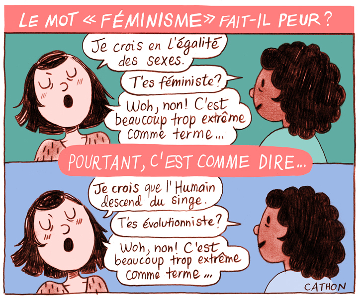 Illustration deux femmes qui discutent du féminisme.