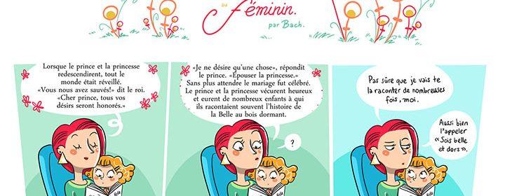 Caricature d'une maman lisant un comte à sa fille.