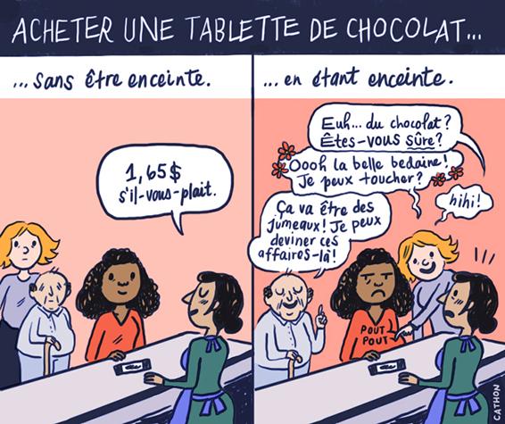 Illustration d'une femme enceinte mangeant du chocolat.