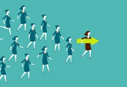 Illustration plusieurs femmes se dirigeant vers l'avant.