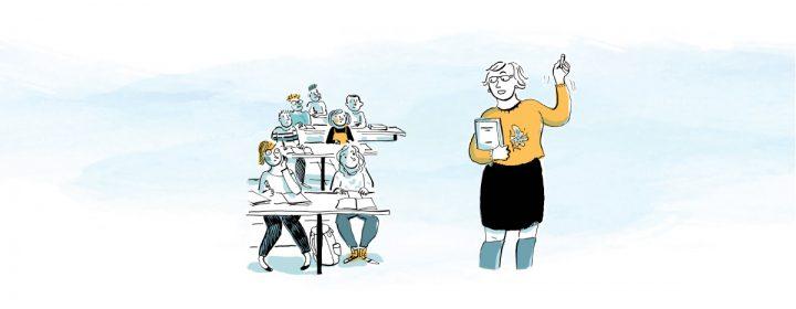 Illustration d'une professeure et de ses élèves assis à leur bureau.