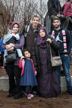 Photographie de Salma, Abdel-Rahman, Samia et Ahmed.