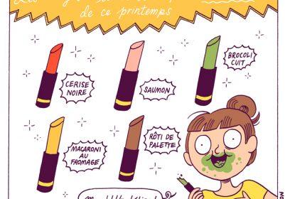 Illustration d'une jeune femme avec plusieurs rouge à lèvres.