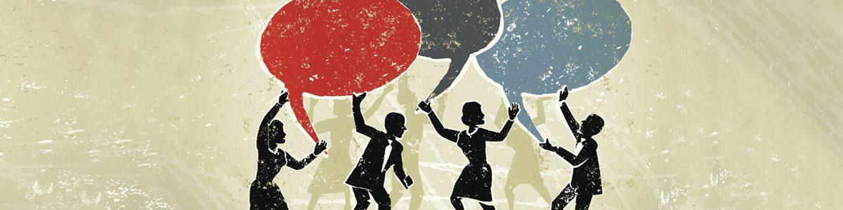 Illustration de plusieurs personnes parlant tous en même temps.