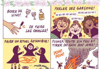 Illustration de Cathon d'une soirée de filles réussie.
